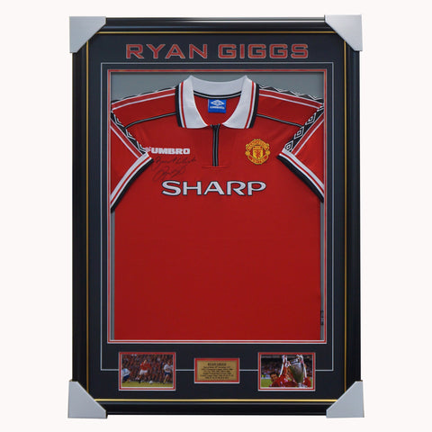 Ryan Giggs Signed Manchester United Jersey Framed with Plaque - 4505