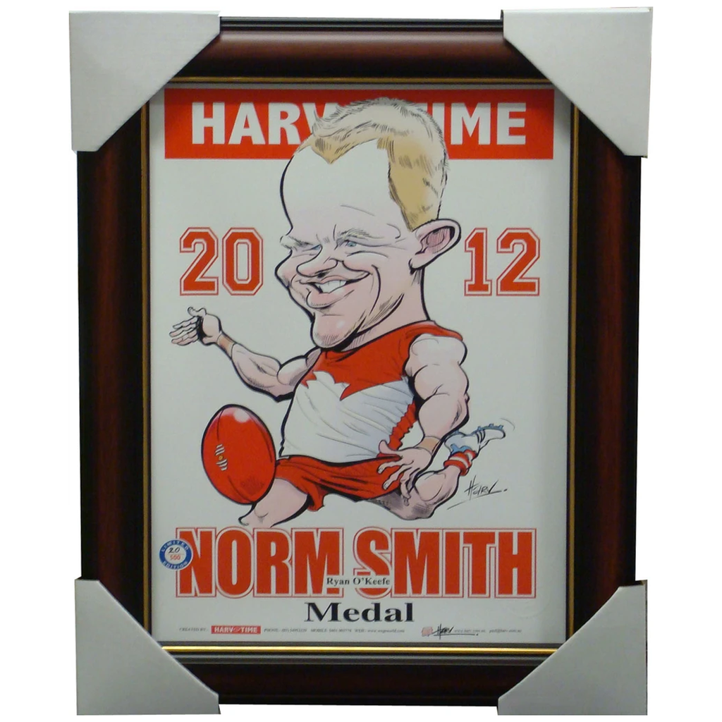 Ryan O'Keefe Sydney Swans 2012 Norm Smith Medallist Harv Time L/E Print Framed - 1413