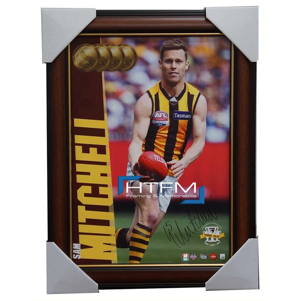 SAM MITCHELL Signed 2015 Premiers Hawthorn AFL OFFICIAL Photo Framed - 2576