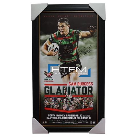 Sam Burgess Signed 2014 Premiers South Sydney Rabbitohs GLADIATOR Print Framed - 2034