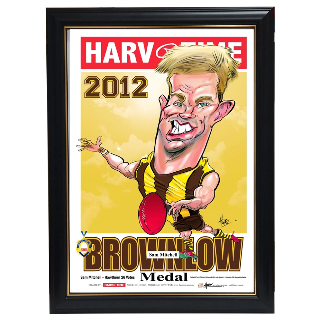 Sam Mitchell 2012 Brownlow Medallist Hawthorn Harv Time L/e Print Framed - 3515