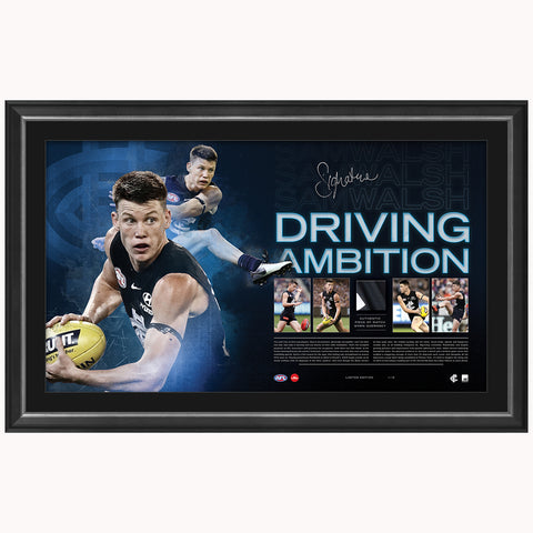 Sam Walsh Signed Carlton 2019 NAB Rising Star Official AFL Print Framed Driving Ambition - 3938