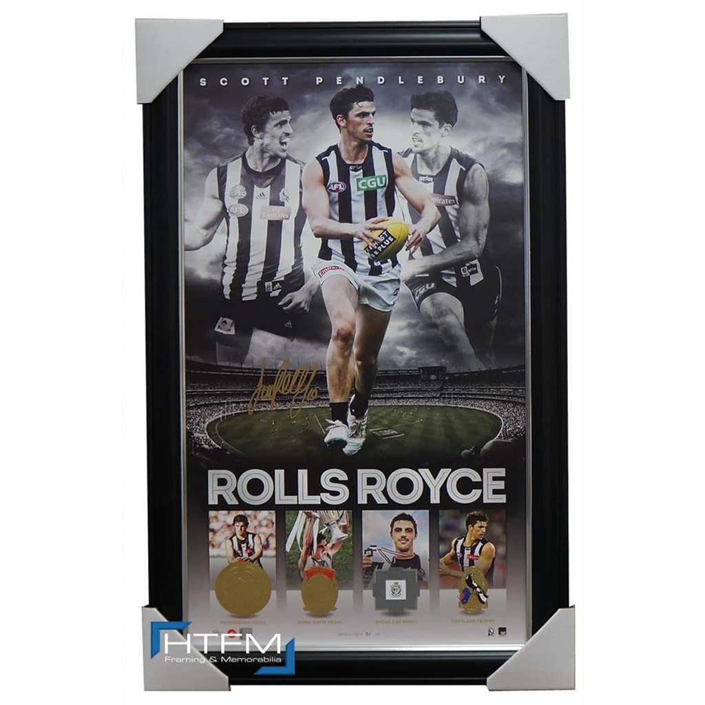Scott Pendlebury Signed Collingwood Rolls Royce Litho Print Framed with Medals - 2521
