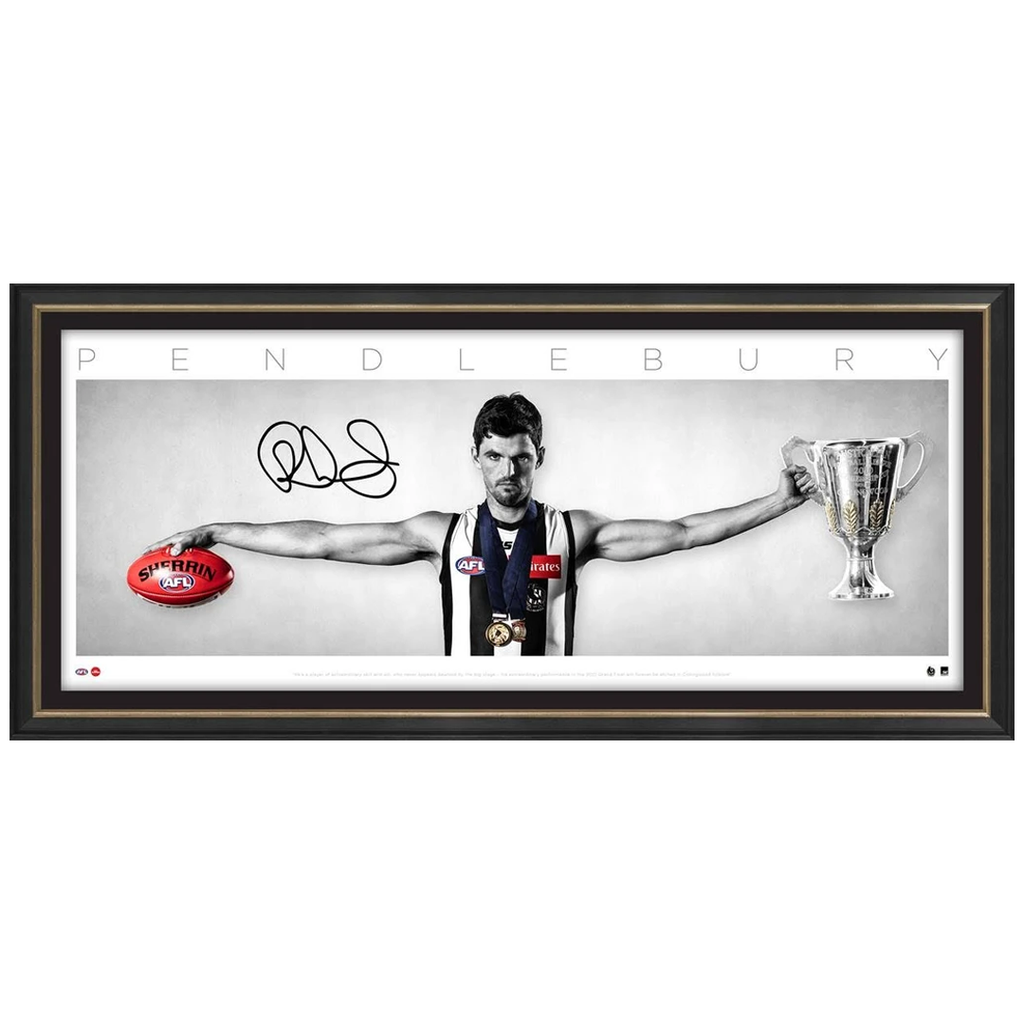 Scott Pendlebury Signed Collingwood WINGS AFL Print Frame Official Premiership - 3249