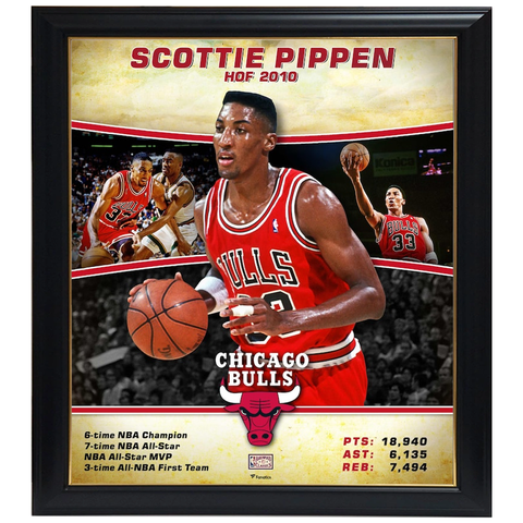 Scottie Pippen Chicago Bulls Player Collage Official NBA Print Framed - 4353