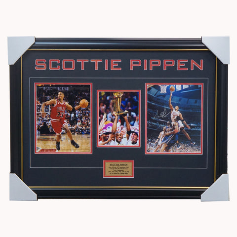 Scottie Pippen Chicago Bulls Signed Photo Collage Framed NBA Champions - 4557