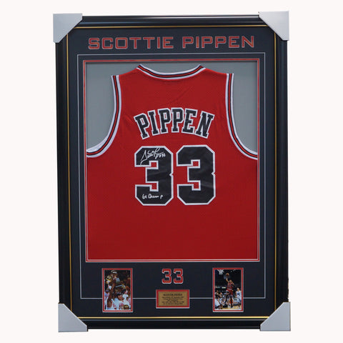 Scottie Pippen Chicago Bulls NBA Signed #33 Jersey Framed 6 x NBA Champion - 4503
