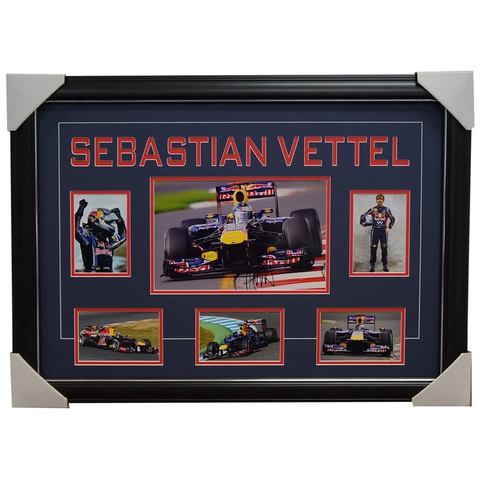 Sebastian Vettel Red Bull World Champion Formula 1 Signed Collage Framed - 1185