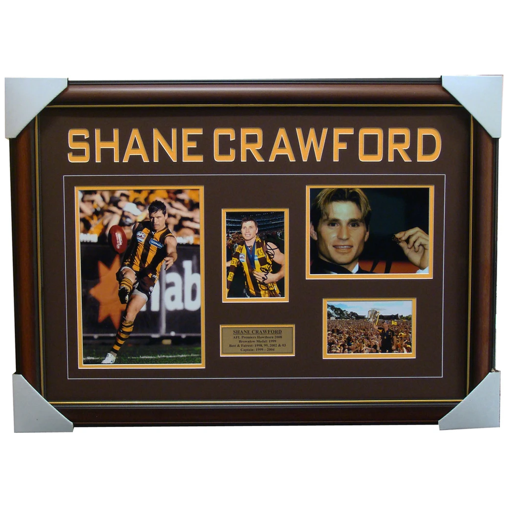 Shane Crawford Hawthorn Signed Collage Framed 2008 Premiers - 1383