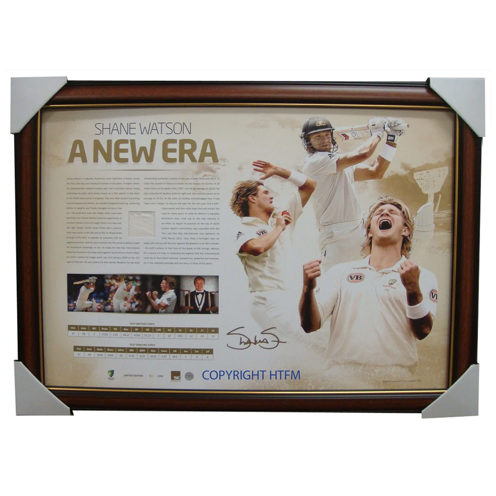 Shane Watson Signed Official Acb a New Era Print With Matchworn Piece Framed - 2710