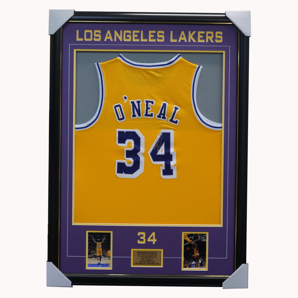 Shaquille O'neal Signed Los Angeles Lakers Nba Jersey Framed 4 X Nba Champion - 3602
