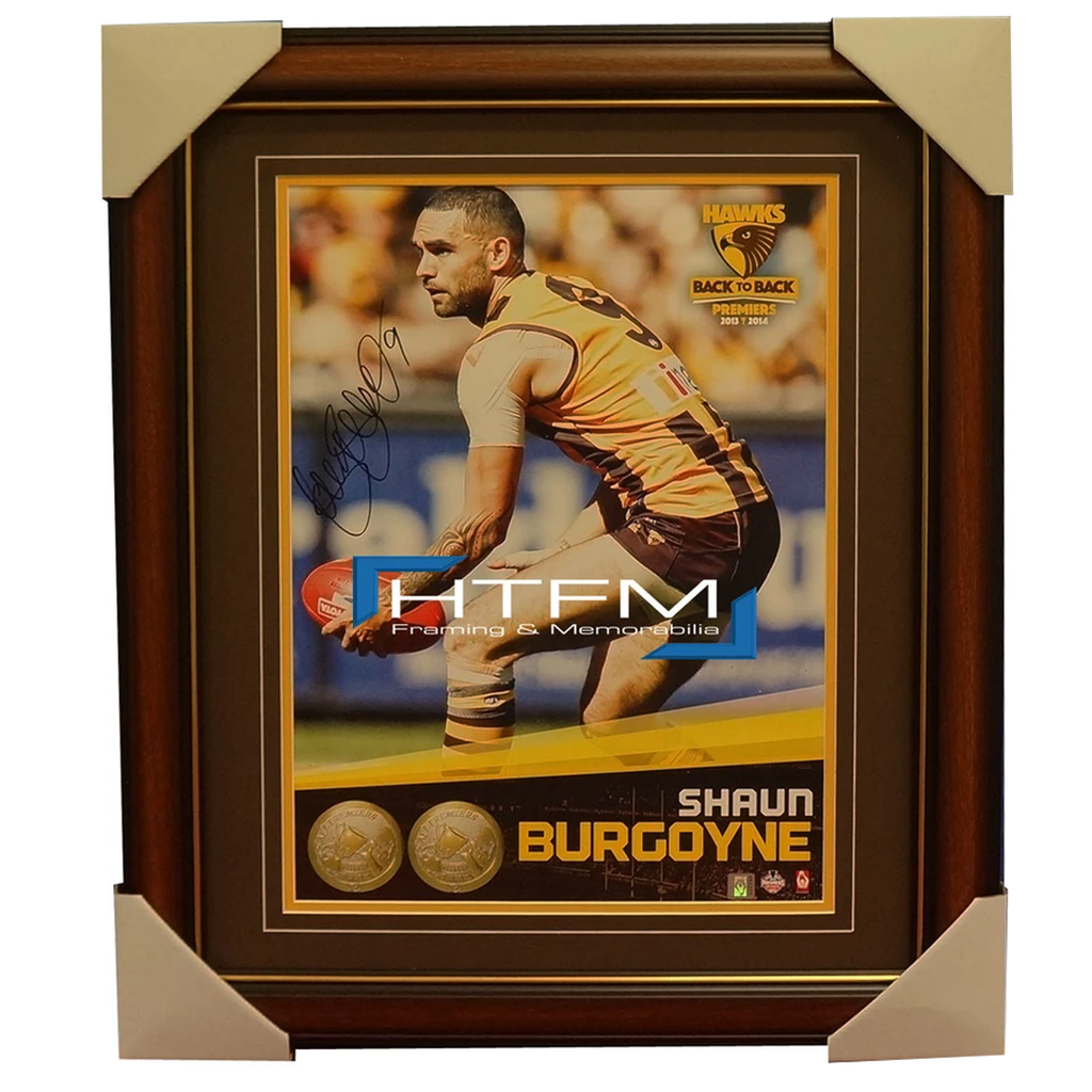 Shaun Burgoyne Signed 2014 Premiers Afl Official Hawthorn Photo Framed Aflpa - 2016