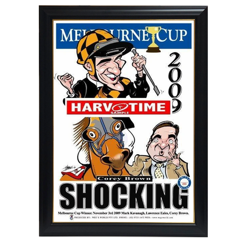 Shocking, 2009 Melbourne Cup, Harv Time Print Framed - 4123