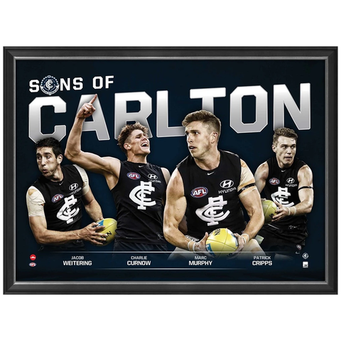 Sons of Carlton Official AFL Print Framed Marc Murphy Patrick Cripps Charlie Curnow - 3458