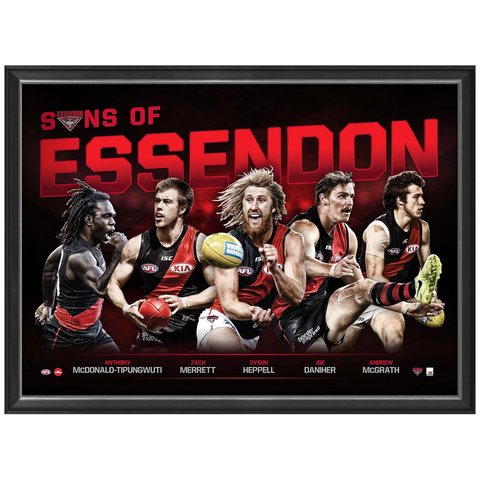 Sons of Essendon Official AFL Print Framed Dyson Heppell Merrett Daniher - 3453