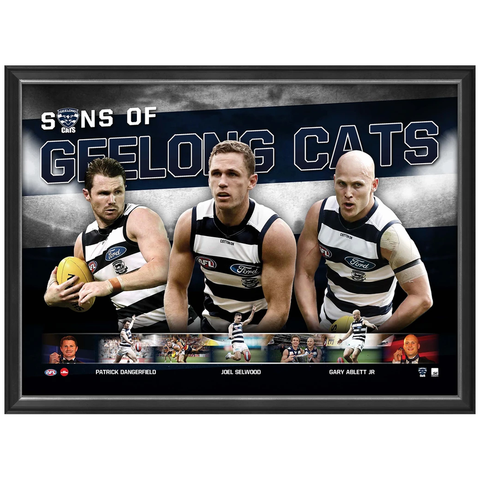 Sons of Geelong Official Afl Print Framed Dangerfield Ablett Jnr Selwood - 3456