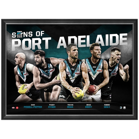 Sons of Port Adelaide L/e Official Afl Print Framed Ryder Boak Gray Ebert Powell-pepper - 3449