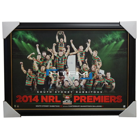 South Sydney Rabbitohs 2014 Nrl Premiers Limited Edition Print Framed Inglis - 2031
