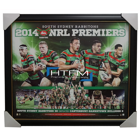 South Sydney Rabbitohs 2014 NRL Premiers Limited Edition Sportsprint Framed - 2028