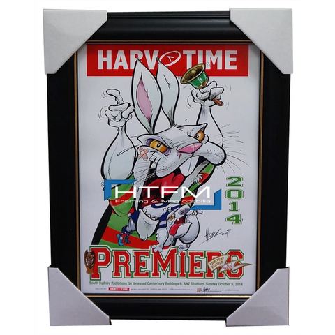 South Sydney Rabbitohs 2014 Premiers Harv Time Limited Edition Print Framed - 2039