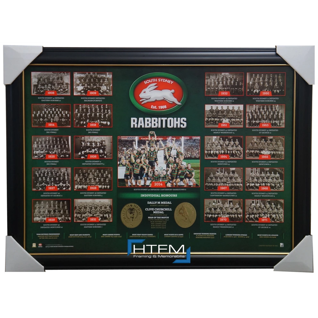 South Sydney Rabbitohs Historical Series Print Framed inc 2014 Premiers - 2613 Express Post