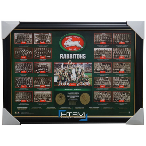 South Sydney Rabbitohs Historical Series Print Framed inc 2014 Premiers - 2613