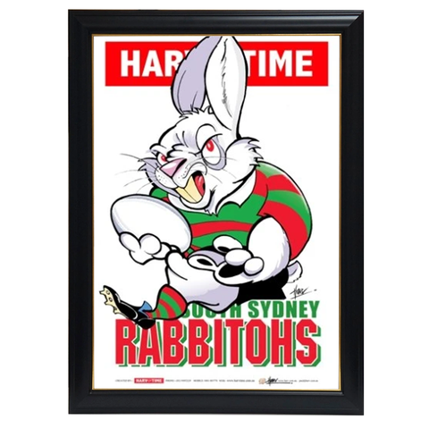 South Sydney Rabbitohs, NRL Mascot Print Harv Time Print Framed - 4150