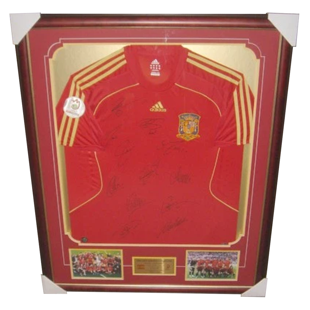 Spain 2008 European Champions Jersey Framed X 12 Sigs With Photos And Plaque - 2835
