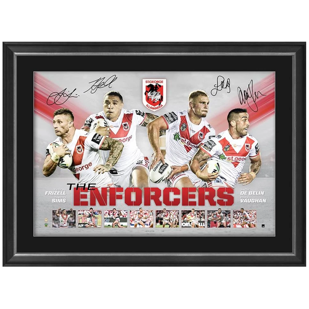 St George Illawarra Dragons Multi-Signed Official NRL Print Framed Belin Sims Frizell Vaughan - 3582