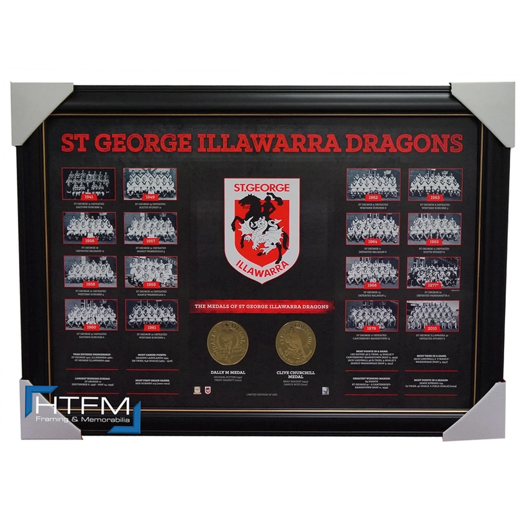 St George Illawarra Dragons the Historical Series Montage Print Framed Nrl - 1841