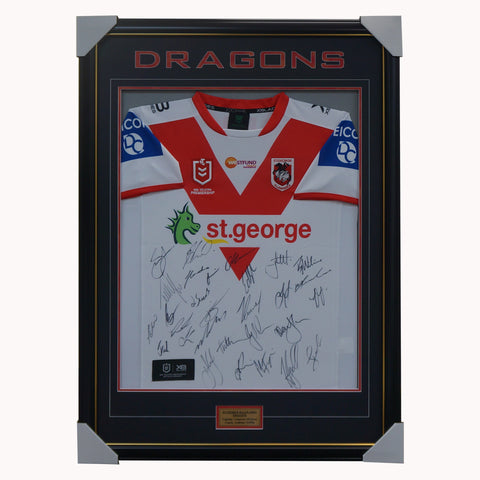 St George Illawarra Dragons 2020 Signed NRL Official Team Guernsey Framed - 4541