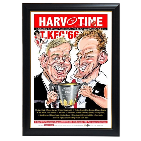St Kilda 50th Anniversary Premiership, Harv Time Print Framed - 4269