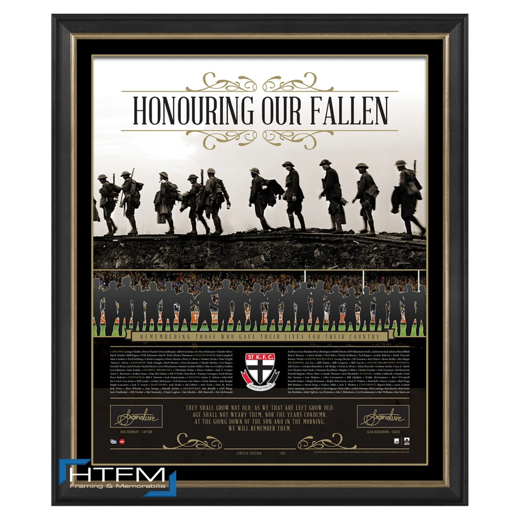 St Kilda Honouring Our Fallen Anzac Signed Afl Print Framed Riewoldt Richardson - 1082