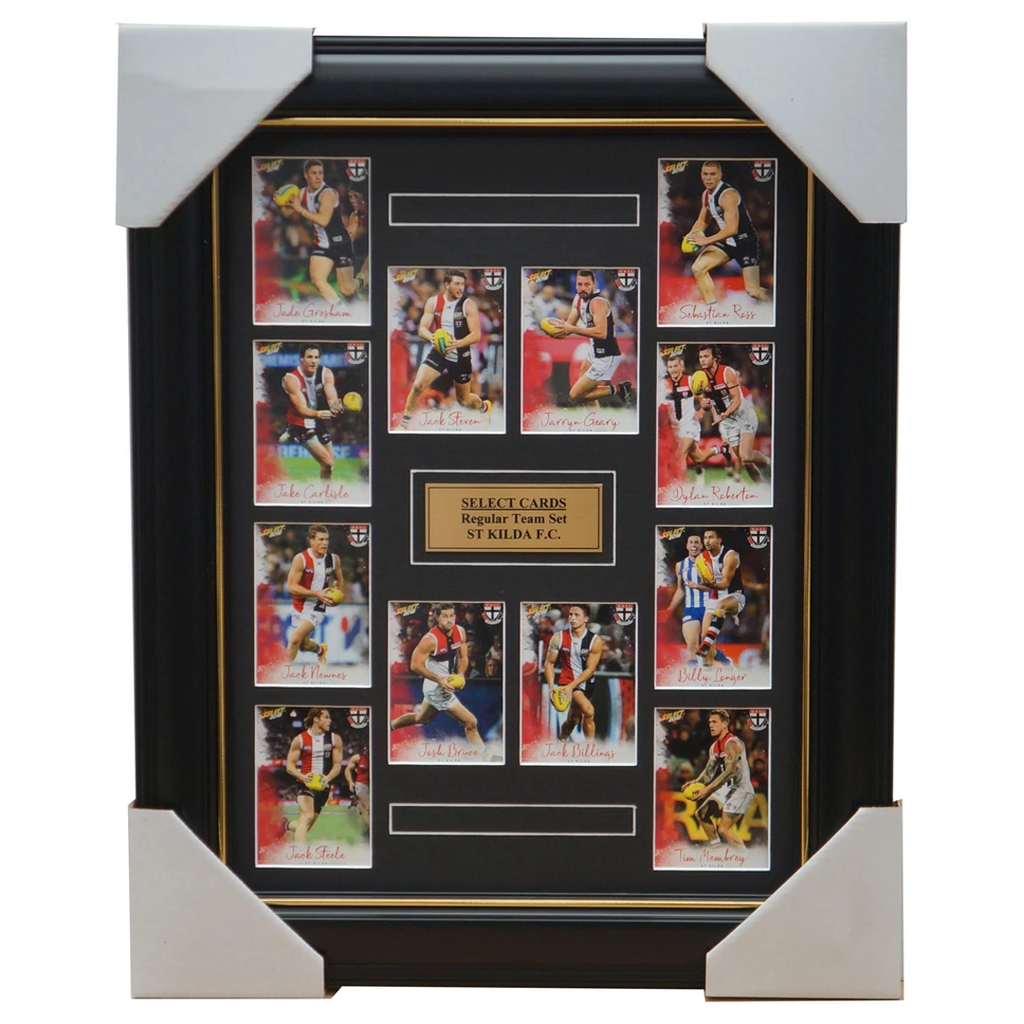 St Kilda Saints 2018 Select Card Team Set Framed Seb Ross Jack Steven Josh Bruce - 3366