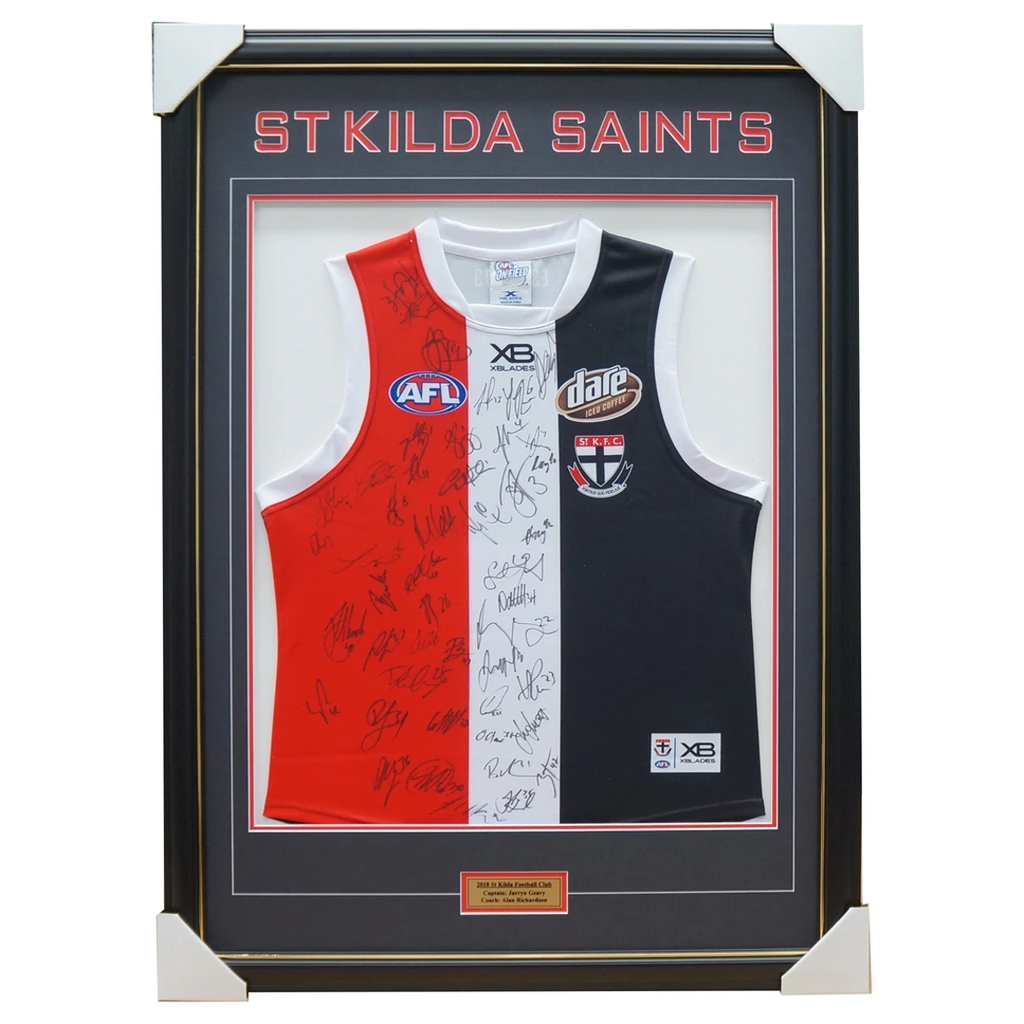 St Kilda Saints 2018 Signed Official Afl Team Jumper Framed Steven Ross + Coa - 3411