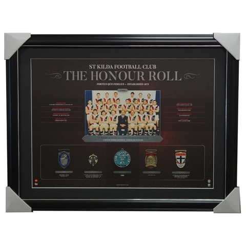 St Kilda Saints Vfl 1966 Premiers Honour Roll With Medallions Print Framed - 3014