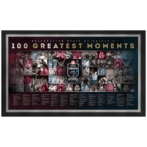 State of Origin 100th Test Greatest Moments Sportspint Queensland V Nsw Le Framed - 1855