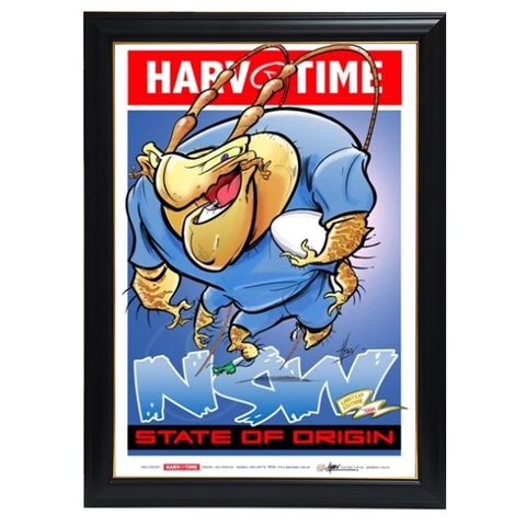State of Origin Nsw Blues, Nrl Mascot Harv Time Print Framed - 4207
