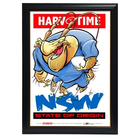 State of Origin Nsw Blues, Nrl Mascot Print Harv Time Print Framed - 4148