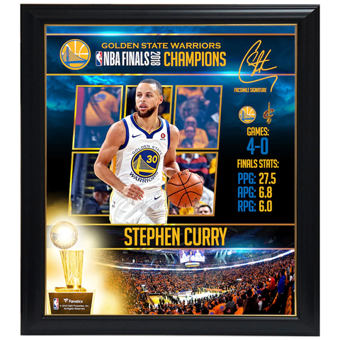Stephen Curry Golden State Warriors 2018 Nba Finals Champions Player Collage Facsimile Signatures Official Nba Print Framed - 4347