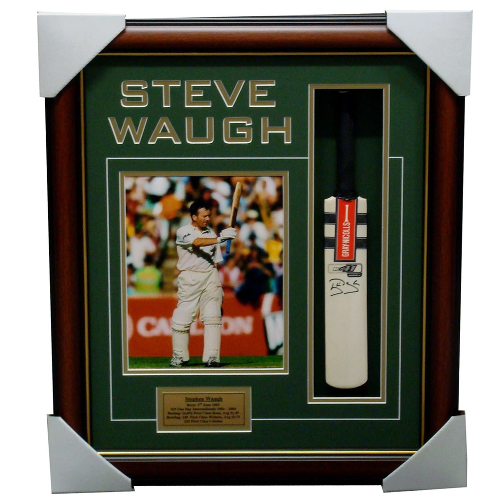 Steve Waugh Australia Mini Cricket Bat Signed Box Framed - 1143