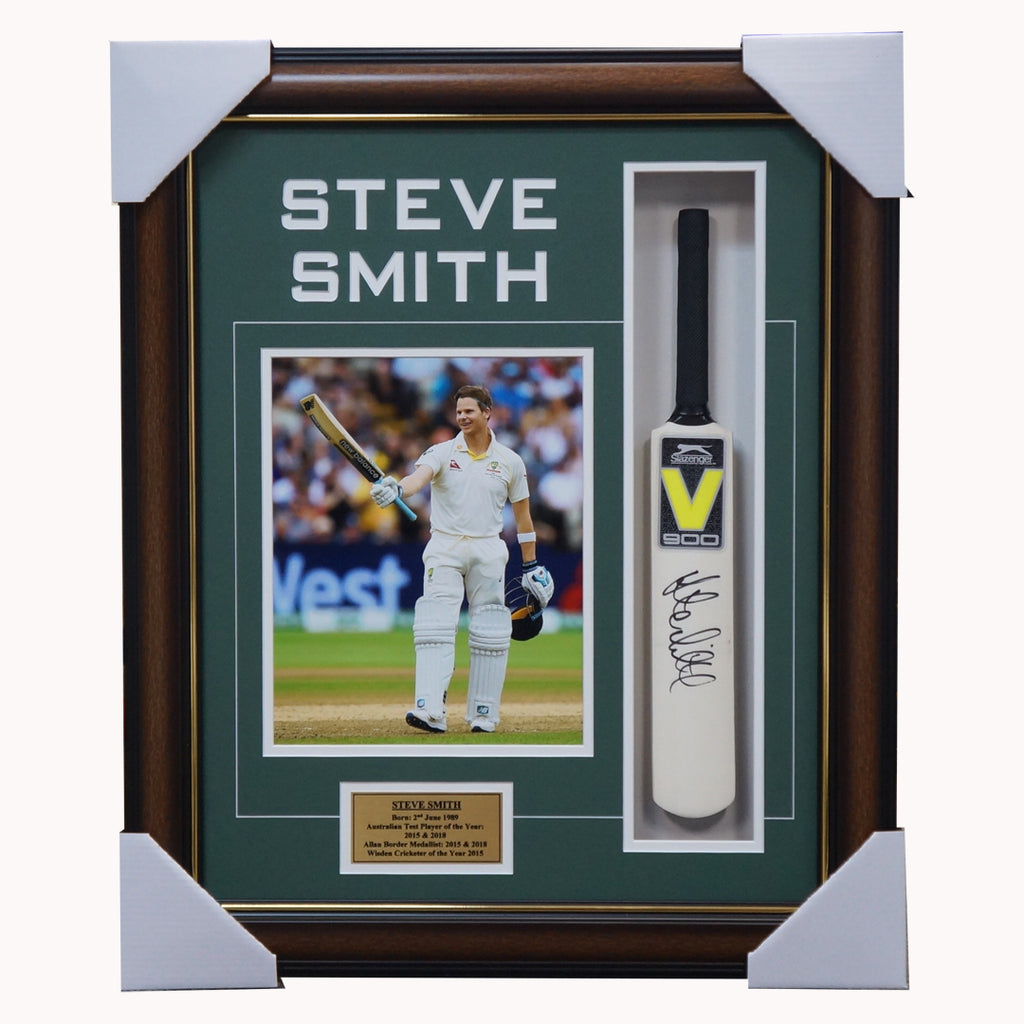 Steve Smith Australia Cricket Signed Mini Bat Collage Framed - 3887