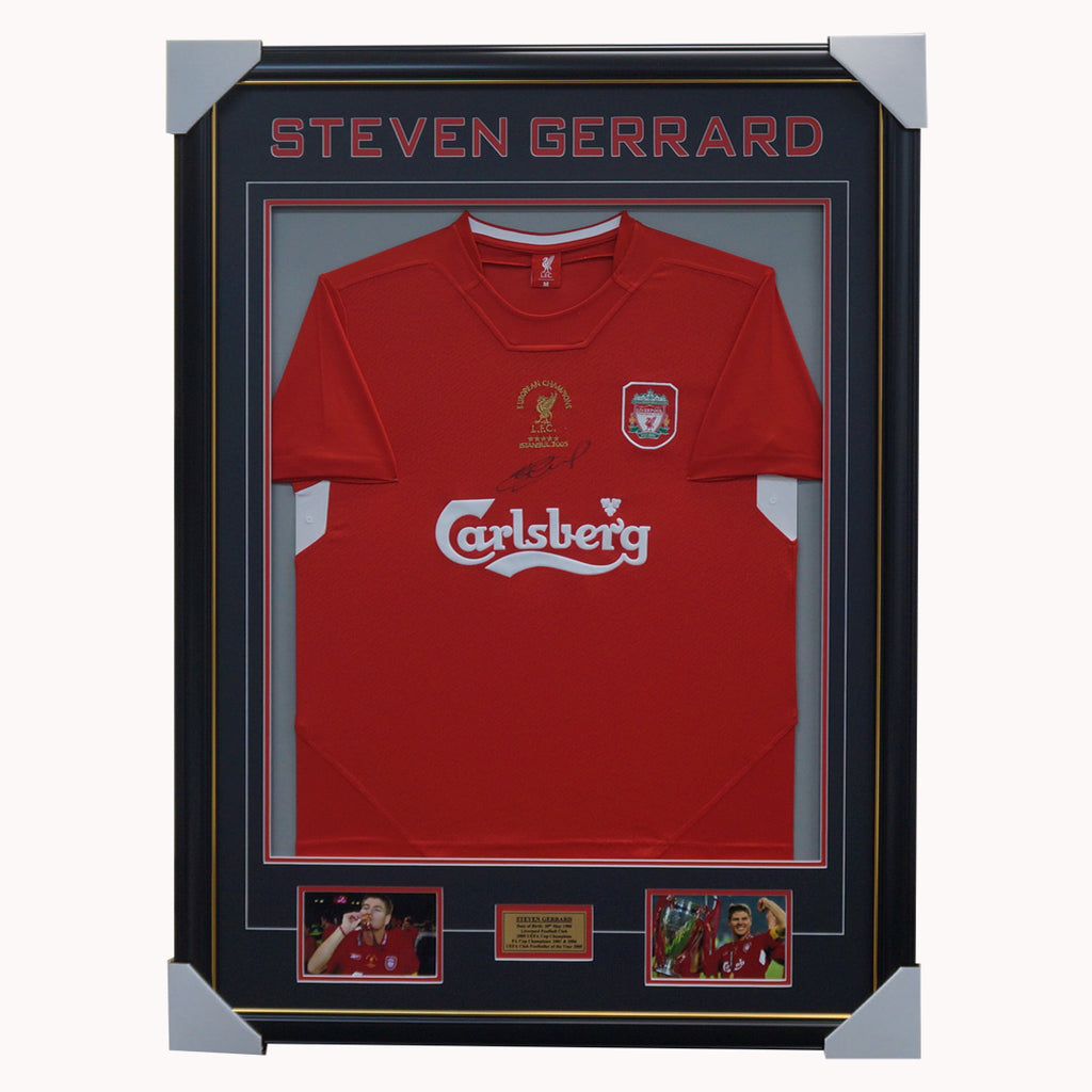 Steven Gerrard SIGNED Liverpool 2005 Champions League Jersey Framed Private Signing - 2659