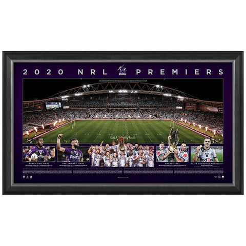 Melbourne Storm 2020 Nrl Premiers Official Panoramic Print Framed - 4684
