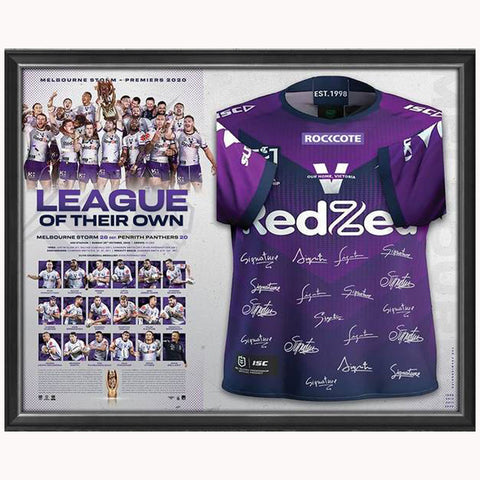 Melbourne Storm 2020 NRL Premiers Team Signed Official Jersey Framed - 4677