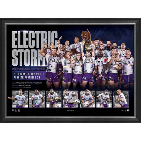 Melbourne Storm 2020 Nrl Premiers Official Sportsprint Framed - 4679