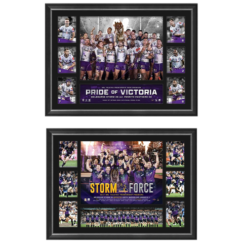Melbourne Storm 2020 & 2017 Nrl Premiers Official Tribute Print Frame Package - 4568