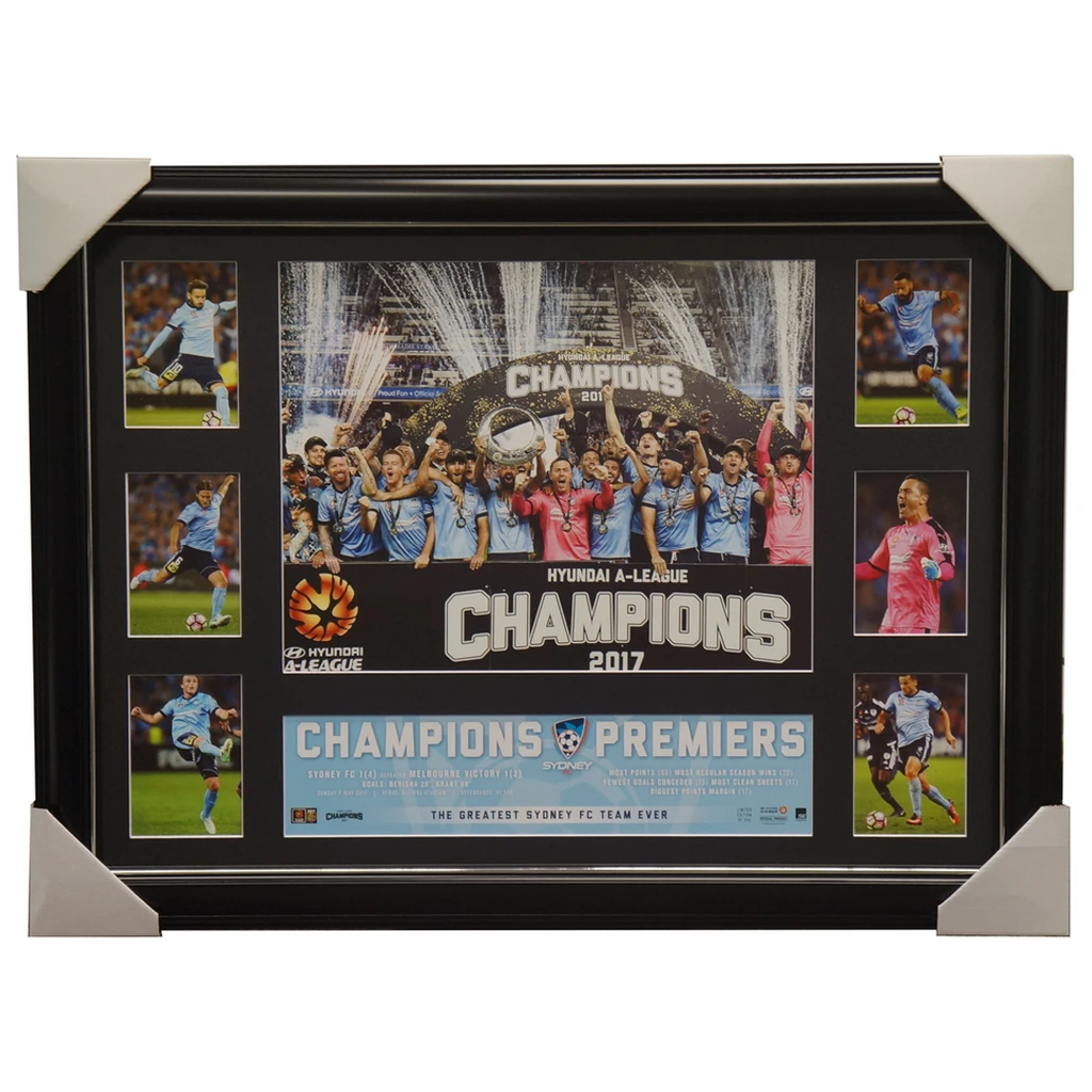 Sydney F.c. 2017 a-league Official Champions Deluxe Super Frame - 3114