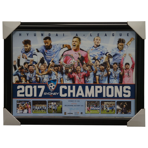 Sydney F.c. 2017 a-league Official Champions Sportsprint Framed With Coa - 3115