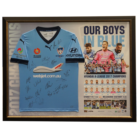 Sydney F.c. Signed Jersey Official a-league 2017 Champions Framed - 3112